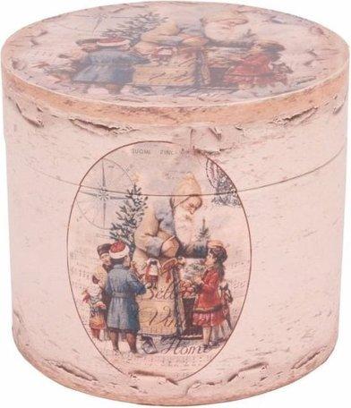 Opbergbox doos rond Ø20 cm Kerstman met kinderen mdf PU leer | 10518811 | Dutch Style