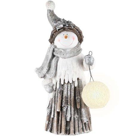 Sneeuwman grijs met bollamp led 29x18x52cm | A215006 | Dekoratief