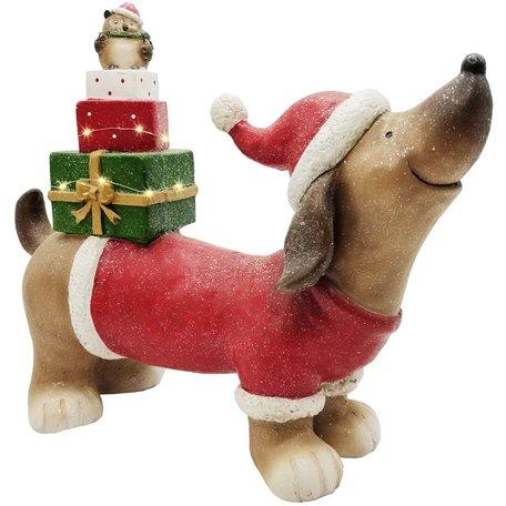 Decoratie kerst hond met cadeautjes ledverlichting 40x18x8 cm| A215011 | Dekoratief