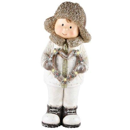 Decoratie kerst winter kind jongen met hart ledverlichting 36x14x13 cm| A215025 | Dekoratief