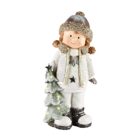 Decoratie kerst winter kind meisje met boom ledverlichting 31 x 15 x 11 cm| A215026 | Dekoratief