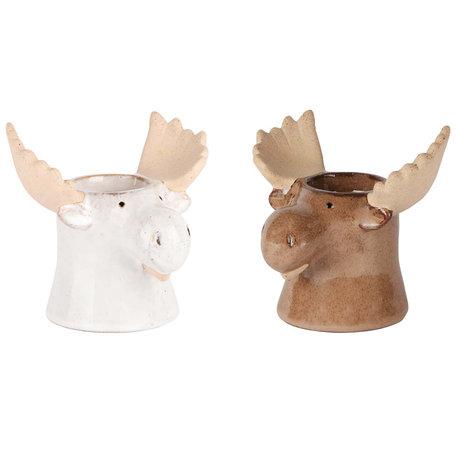 Theelichthouder waxine eland set van 2 wit en bruin 13x10x11 cm | A205345 | Dekoratief