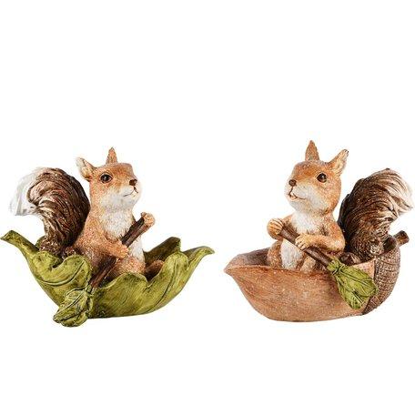 Eekhoorns in bootje blad & noot set van 2 15x9x11 cm | A215105 | Dekoratief