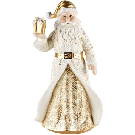 Decoratie kerstman met cadeautje wit/goud 20x15x36 cm | A215101 | Dekoratief