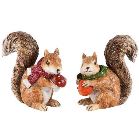 Eekhoorns met sjaal set van 2 12x6x12 cm   A215106   Dekoratief