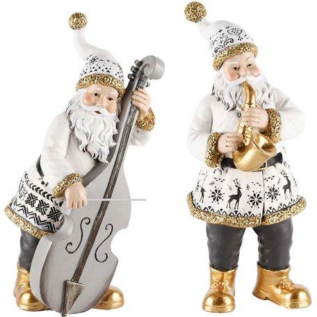 Decoratie kerstman met instrumenten set van 2 goud/wit 16x11x25 cm | A215130 | Dekoratief