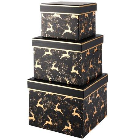 Set van 3 opbergdozen Golden Deer 19x19x14 cm | A215672 | Dekoratief