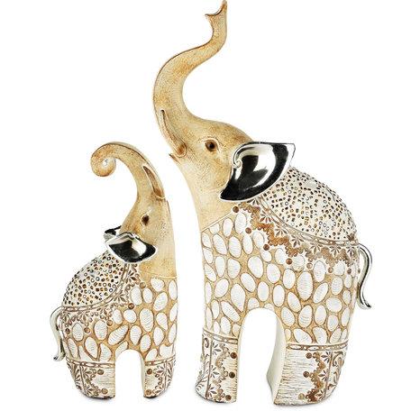 Set van 2 olifanten naturel 18 x 18 x 31 cm | A200052 | Dekoratief