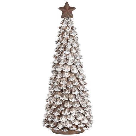Decoratie kerstboom met ster bruin wit 30x12x12 cm| A205029 | Dekoratief