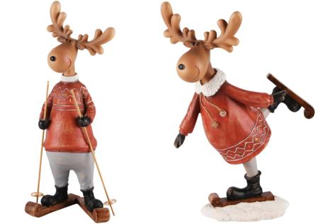 Set van 2 decoratie rendieren op ski's man / vrouw | A2151901 | Dekoratief