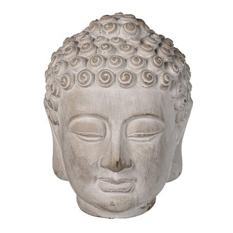 Decoratie hoofd vrouw 13*14*17 cm Grijs   6TE0360S   Clayre & Eef