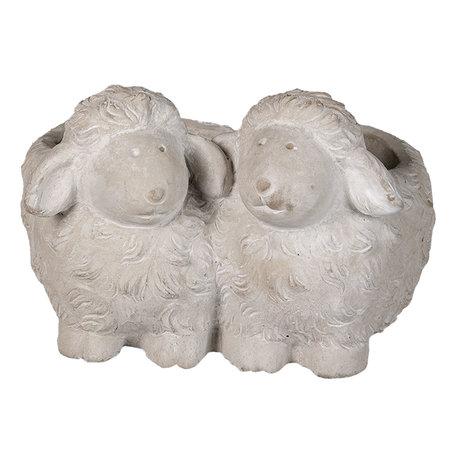 Bloempot schapen 18*17*12 cm Grijs | 6TE0371 | Clayre & Eef