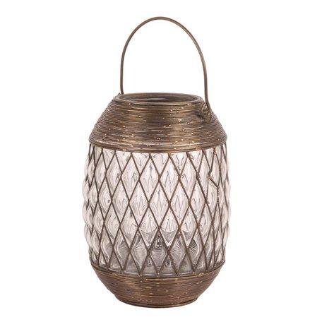 Lantaarn 27 cm koper bruin / goud glas    10704603   Dutch Style