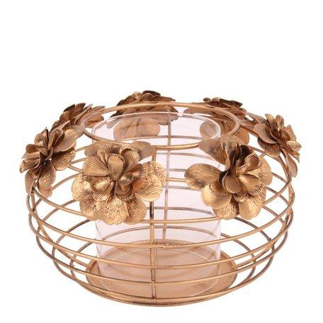 Windlicht bloemen Ø 19 cm goud ijzer    10927404   Dutch Style