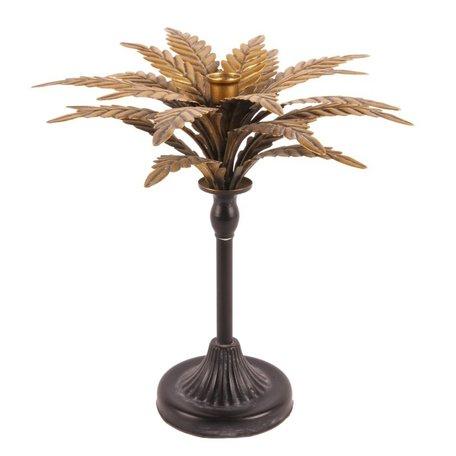 Kandelaar kaarsenhouder palmboom 33 cm x 18 cm zwart goud ijzer | 11344404 | Dutch Style