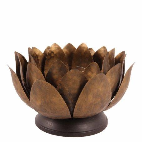 Theelichthouder kandelaar lotusbloem Ø 28 cm goud ijzer waxinelicht   11352404   Dutch Style