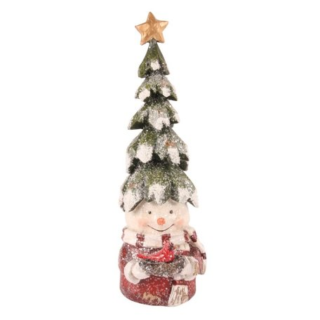 Decoratie sneeuwpop met kerstboom op zijn hoofd 22 cm | 11264850 | Dutch Style