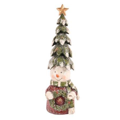 Decoratie sneeuwpop met kerstboom op zijn hoofd kerstkrans in hand 28 cm | 11265850 | Dutch Style