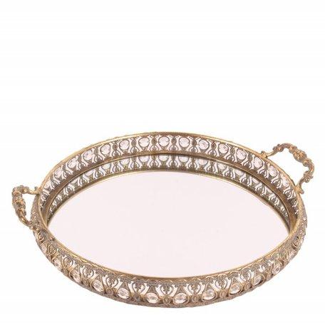 Dienblad met spiegel handvat & diamanten goudkleurig 43x37 cm Boheemse Oosterse stijl | 11388404 | Dutch Style