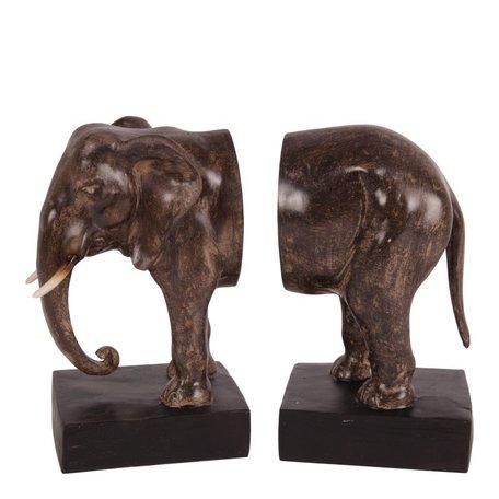 Boekensteun set olifant 23 cm bruin zwart | 11577605| Dutch Style