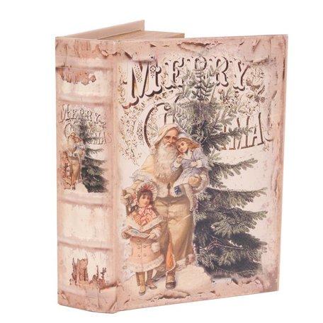 Boekenkluis decoratieboek opbergdoos 20 cm Merry Christmas kerstman met kinderen | 11255811| Dutch Style
