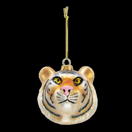 Kerstbal tijger 10*9*10 cm Goudkleurig   6GL3309   Clayre & Eef