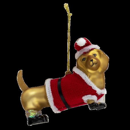 Kerstbal hond 11*4*7 cm Goudkleurig   6GL3313   Clayre & Eef