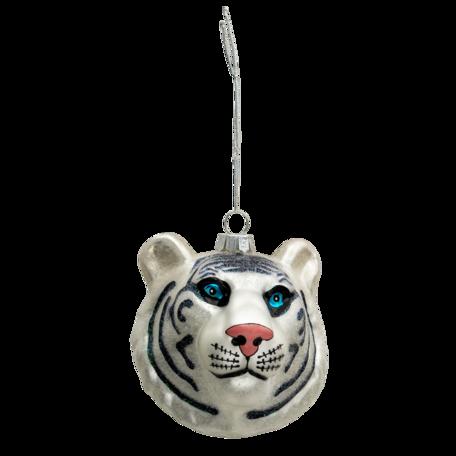 Kerstbal tijger 10*9*10 cm Zilverkleurig   6GL3317   Clayre & Eef