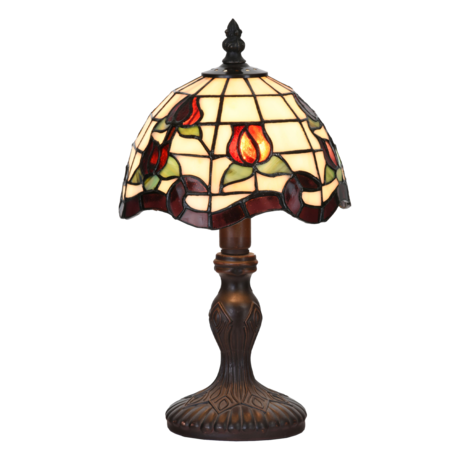 Tafellamp Tiffany ø 18*32 cm E14/max 1*25W Rood | 5LL-6157 | Clayre & Eef