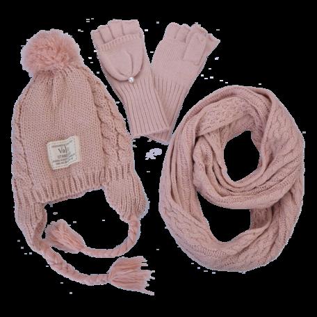 Kinder sjaal / muts / handschoenen  Roze   MLLLSHG0001P   Clayre & Eef