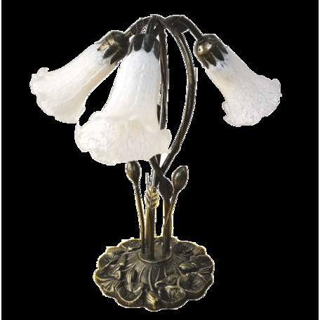 Tafellamp Tiffany 41*31*43 cm E14/max 3*25W Wit | 5LL-6104 | Clayre & Eef