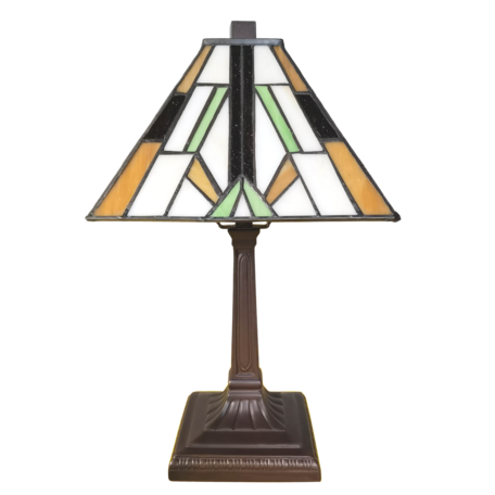 Tafellamp Tiffany 20*20*34 cm E14/max 1*25W Bruin | 5LL-6109 | Clayre & Eef