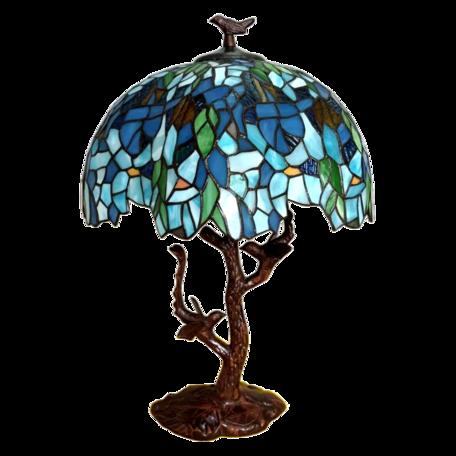 Tafellamp Tiffany ø 42*49 cm E27/max 2*60W Blauw | 5LL-6115 | Clayre & Eef
