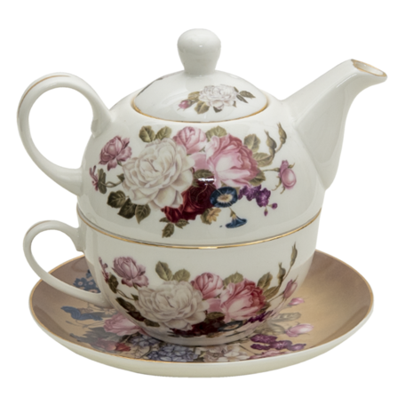 Tea for one set 17*10*14 cm /ø 15*2 /400 ml / 250 ml Wit   6CE1288   Clayre & Eef