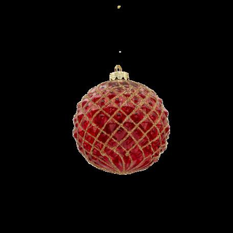 Kerstbal (set van 4) ø 10 cm (set 4) Rood | 6GL3282 | Clayre & Eef