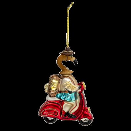 Kerstbal flamingo op scooter 10*5*13 cm Multi   6GL3310   Clayre & Eef