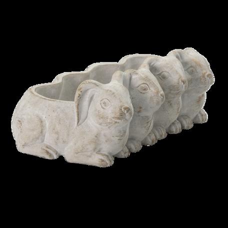 Bloempot konijnen 33*19*11 cm Grijs | 6TE0373 | Clayre & Eef