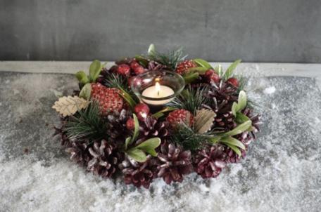 Kerstkrans 17 cm rond bordeaux rood groen blad 1 theelichthouder | NFT-85061 | La Galleria