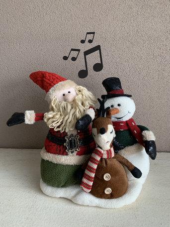 Muzikaal zang & bewegend trio Kerstman eland sneeuwman wish you a merry christmas 35 x 36 cm | YID-80563 | La Galleria