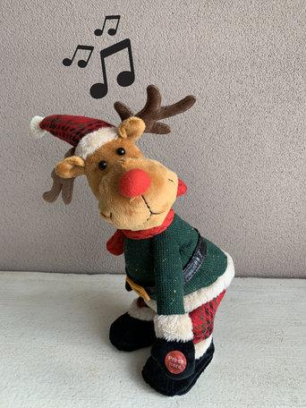Rocking eland bewegend & muzikaal deuntje Jingle Bells 35 cm | YID-19030 | La Galleria