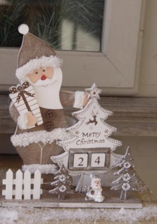Xmas kalender kerstman met kerstboom hout 22 cm | kerstdecoratie | TCL-310682 | La Galleria