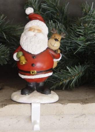Kerstsok houder lachende kerstman met bel en een eland op zijn schouder 15 cm | TPI-765312 | La Galleria