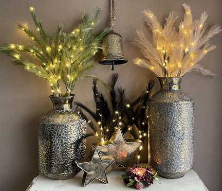 Set van 2 sfeervolle decoratie pluimen / takken met led verlichting 90 cm | Kleur zwart, groen of crème | Home Sweet Home