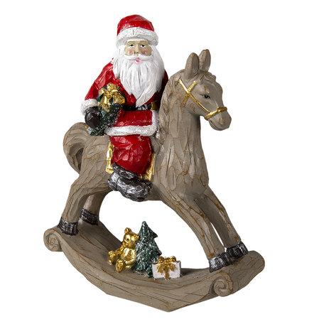 Decoratie kerstman op hobbelpaard 25*11*30 cm Multi | 6PR3409 | Clayre & Eef