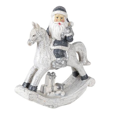 Decoratie kerstman op hobbelpaard 13*6*17 cm Zilverkleurig | 6PR3410 | Clayre & Eef