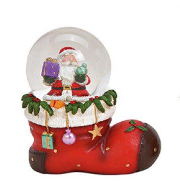 Sneeuwbol rood kerstmanlaars met kerstman 10 x 11 x 7 cm | 10027884-1 | Winter & Kerstdecoratie | G.Wurm