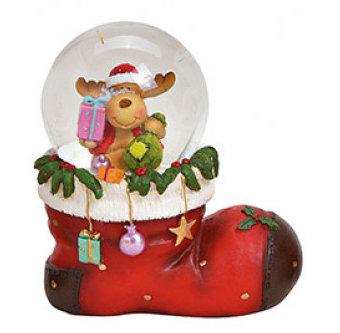 Sneeuwbol vorm laars kerstman met rendier cadeautjes 10 x 11 x 7 cm | 10027884-2 | Winter & Kerstdecoratie | G.Wurm
