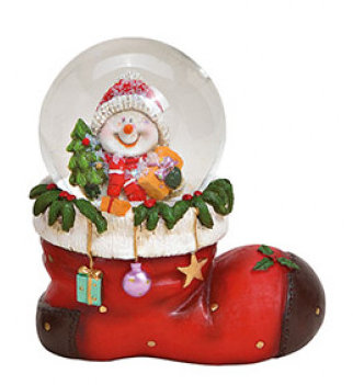 Sneeuwbol vorm laars kerstman met sneeuwpop kerstboom & cadeautjes 10 x 11 x 7 cm | 10027884-3 | Winter & Kerstdecoratie | G.Wurm