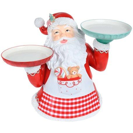 Taarthouder 2 taarten kerstman rood wit 55 x 44 x 33 cm | Dekoratief | A215165