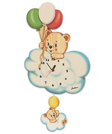 Muurklok hout beer op wolk met ballonnen | Bartolucci